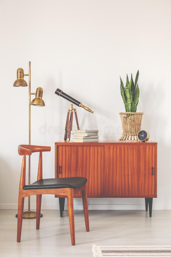 Trendy wooden chair next to retro cabinet with books and plant in pot, real photo with copy space on the empty white wall.  stock images