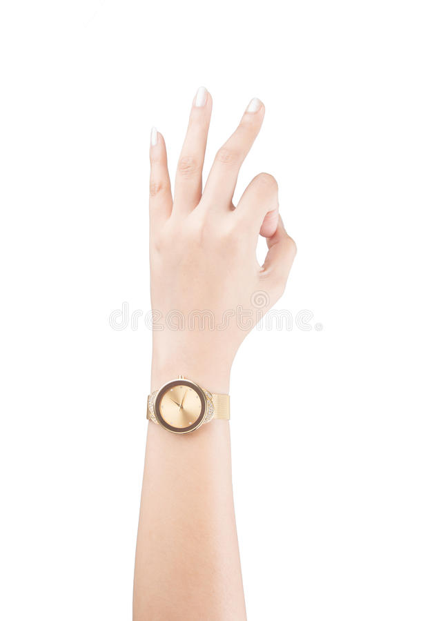 Trendy wrist watch on woman hand isolated on white background. Trendy wrist watch on woman hand isolated on white stock photos