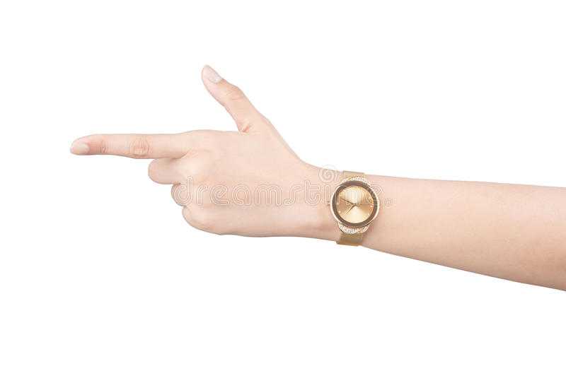 Trendy wrist watch on woman hand isolated on white background. Trendy wrist watch on woman hand isolated on white royalty free stock photography