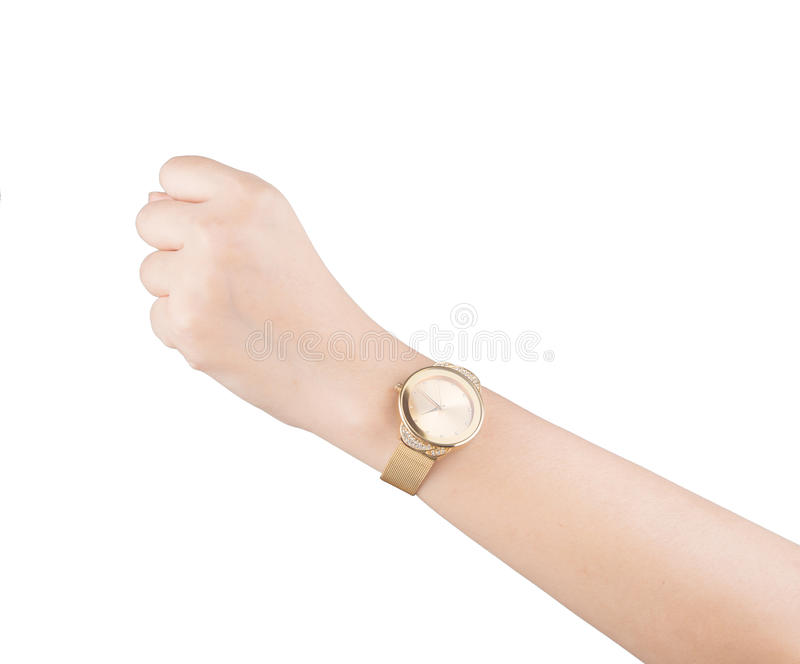 Trendy wrist watch on woman hand isolated on white background. Trendy wrist watch on woman hand isolated on white stock image