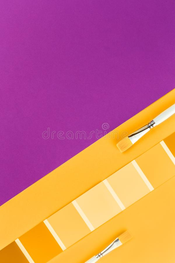 Trendy yellow orange color swatches with grape pink royalty free stock photos