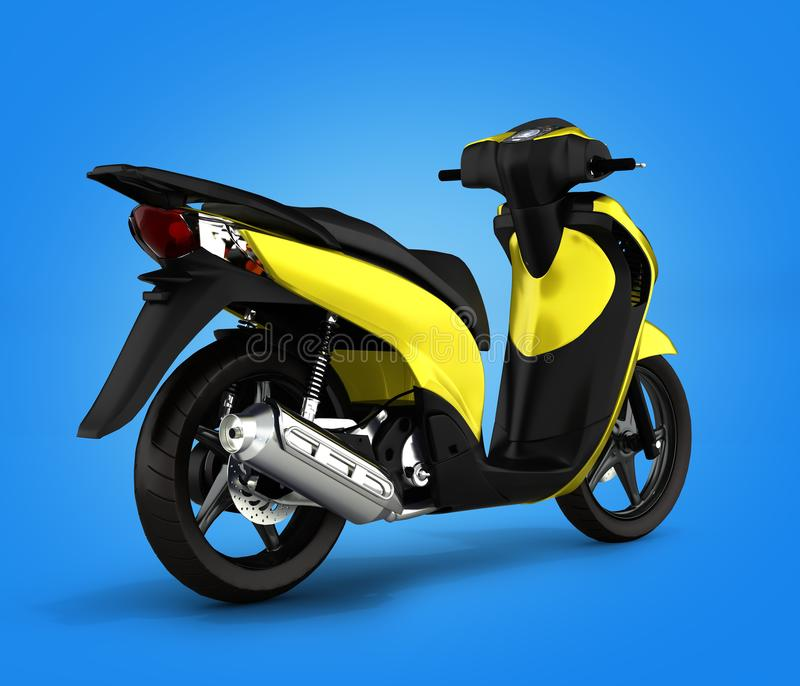 Trendy yellow scooter on gradient background 3d. Trendy yellow scooter on gradient background stock illustration