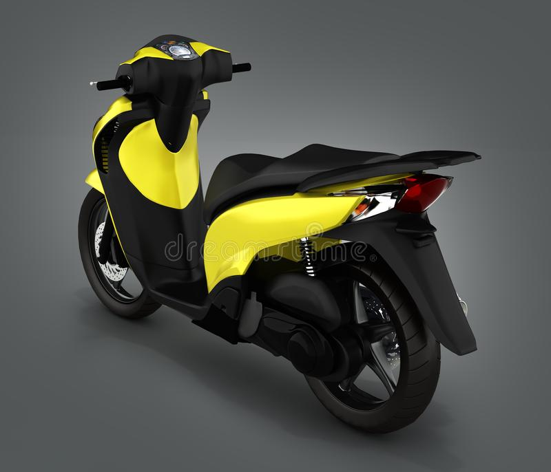 Trendy yellow scooter on gray gradient background 3d render. Trendy yellow scooter on gray gradient background 3d stock illustration