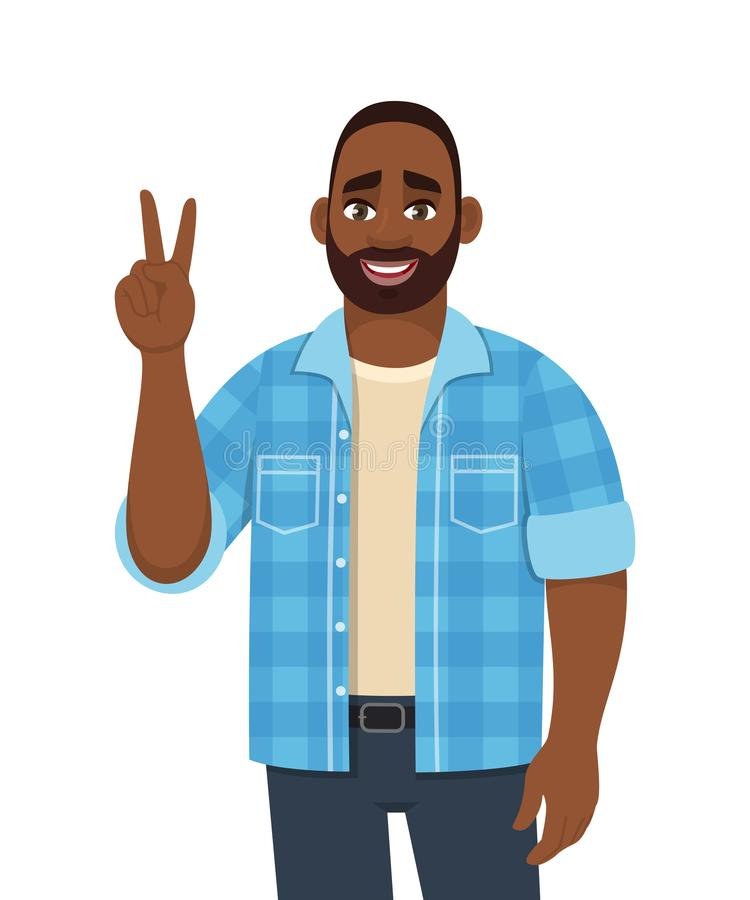 Trendy young African American man showing victory, peace, V or winning gesture. Person making two sign with fingers. stock illustration