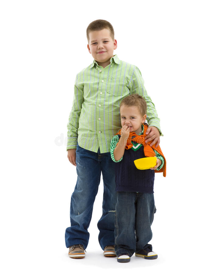 Trendy young brothers stock photos