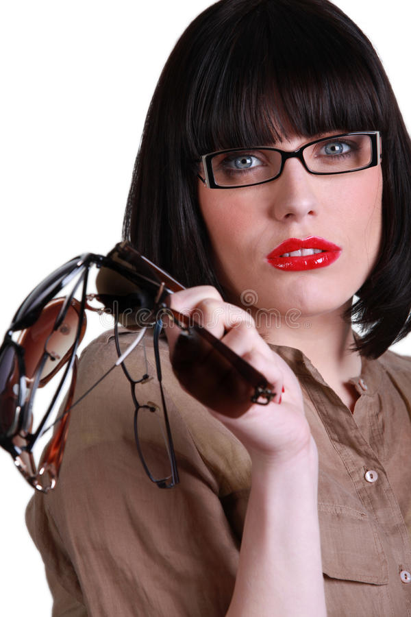 Download Trendy young brunette stock image. Image of glasses, appealing - 26794071