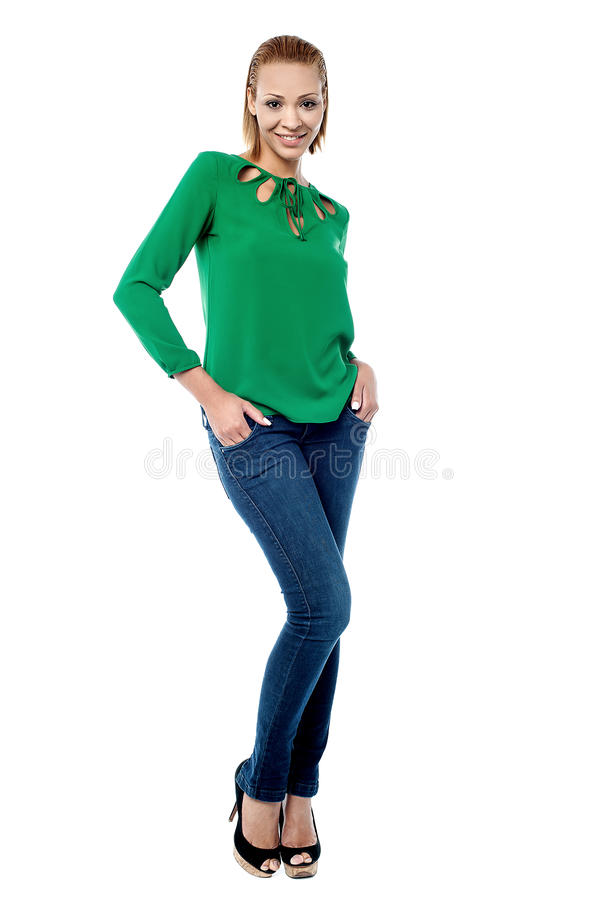 Trendy young woman, casual portrait. royalty free stock image