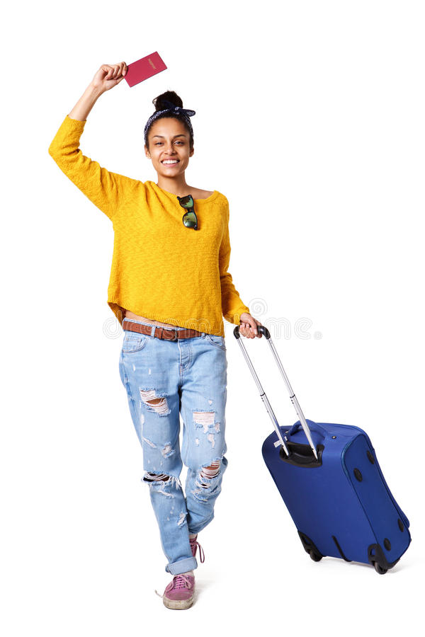 Trendy young woman going on vacation stock images
