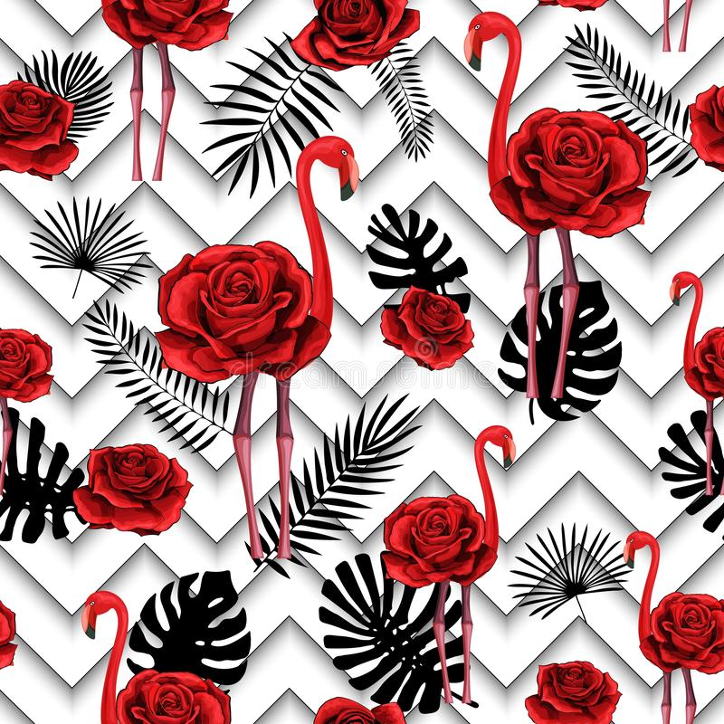 Trendy zigzag lines print embroidered red roses and flamingo seamless pattern. Trendy zigzag lines print with embroidered red roses and flamingo. Seamless vector illustration