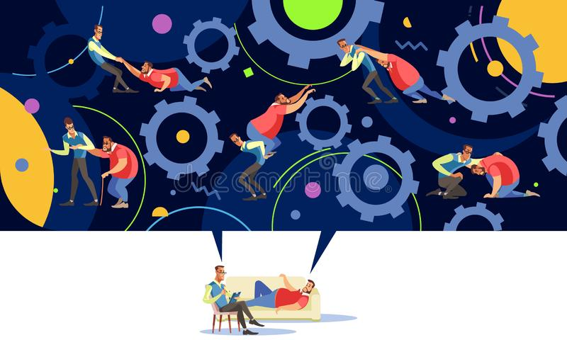 Trener życia lub rozwój osobisty psychologia mentoringu koncepcyjnego royalty ilustracja
