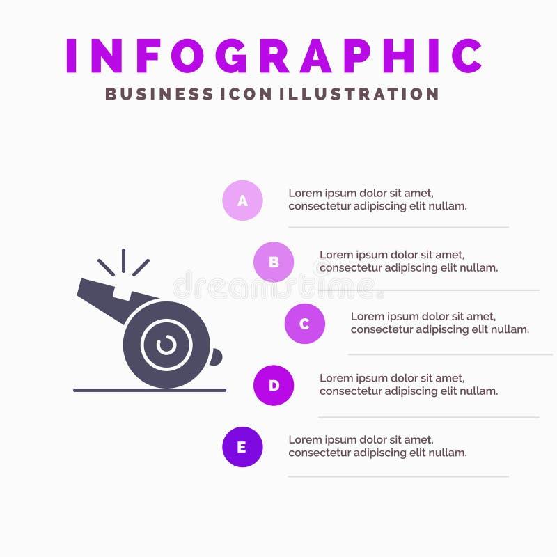 Trener, arbiter, sport, gwizd ikony Infographics 5 kroków prezentacji Stały tło royalty ilustracja