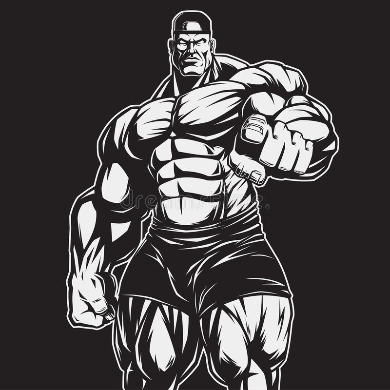 Trener bodybuilding i sprawność fizyczna ilustracja wektor