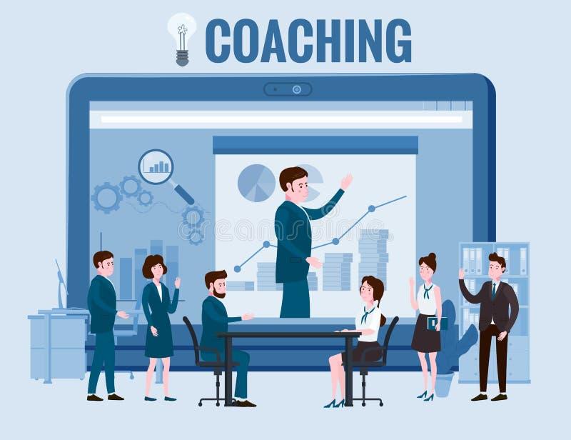Trenerzy biznesowi, ludzie, mężczyzna i kobieta, rozmawiający, dyskutujący Z dużą mapą notebooka i wykresem royalty ilustracja
