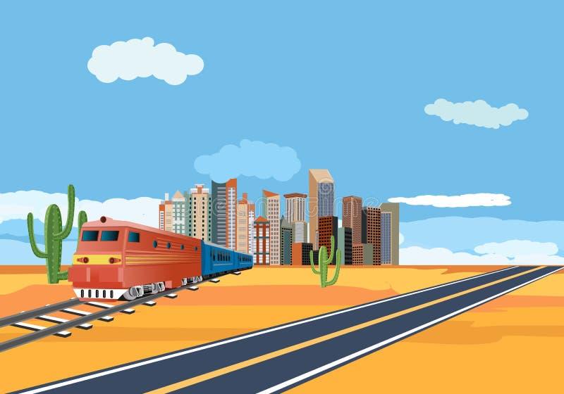 Trenes en el desierto, edificios de la ciudad en horizonte fotografía de archivo libre de regalías