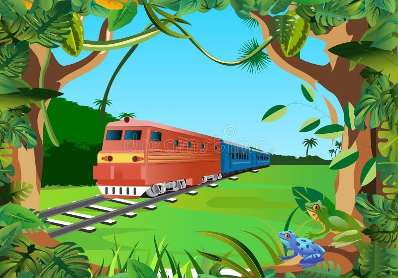 Trenes en la selva, vector floral del marco foto de archivo