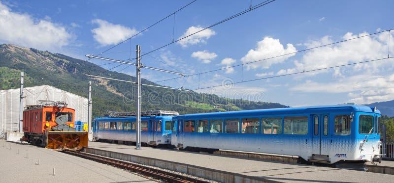 Treni delle ferrovie di Rigi in Arth-Goldau fotografia stock libera da diritti