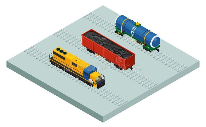Treni ed automobili isometrici del carico della ferrovia di vettore illustrazione di stock