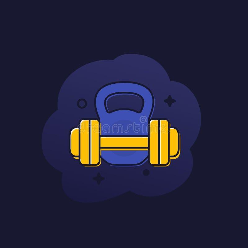 Trening, sprawność fizyczna, trenuje w gym ikonie ilustracja wektor