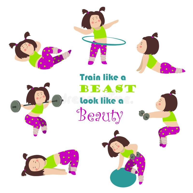 Trening sprawności fizycznej dziewczyny ilustracja wektor
