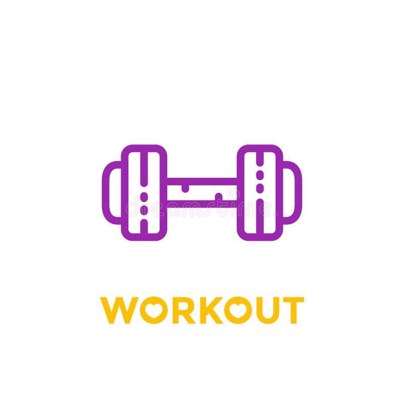 Trening, sprawności fizycznej ikona na bielu ilustracji