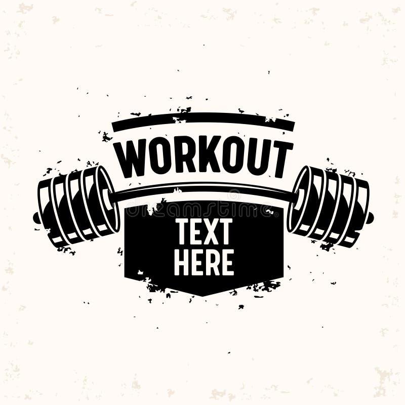 Treningu sztandar z Barbell, Kreatywnie Bodybuilding i sprawności fizycznej motywacji pojęciem, Monochromatyczna Czarny I Biały t ilustracji