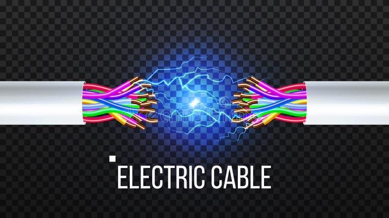 Trennen Sie elektrische Leitungs-Vektor Kupferdraht-Leiter Kommunikations-Verbindungs-Komponente realistisches 3D lokalisiert lizenzfreie abbildung