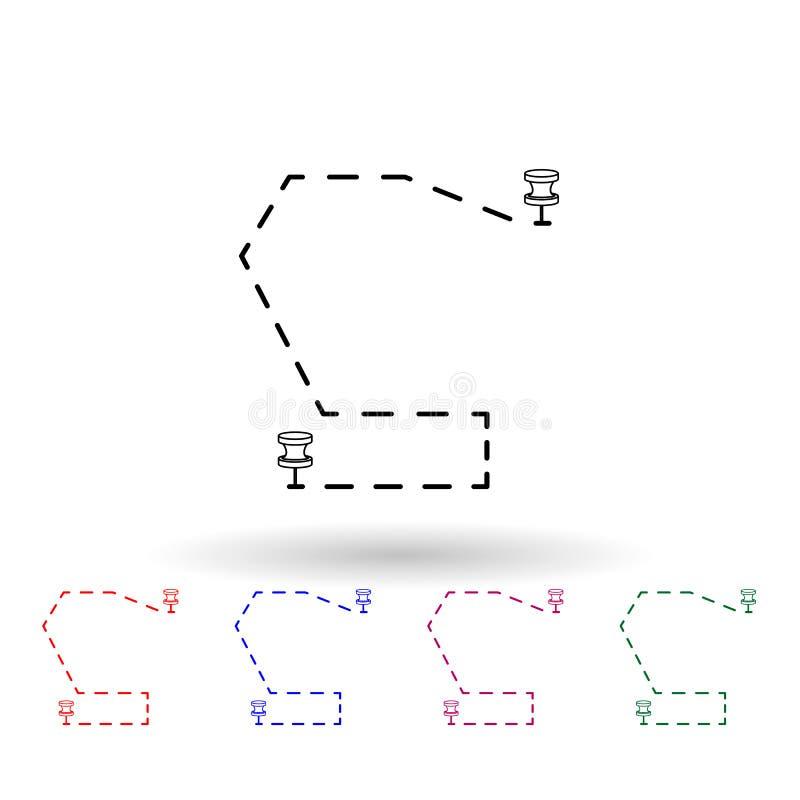 Trennlinie zwischen Stiften und mehrfarbigem Symbol Einfache dünne Linie, Konturvektor Vektor Navigation Icons für ui und ux, Web vektor abbildung