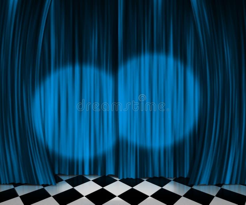 Trennvorhang-Scheinwerfer-Stufe-Hintergrund lizenzfreie abbildung