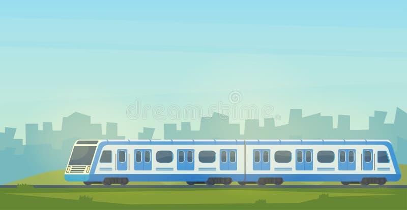 Treno ad alta velocità elettrico moderno di Passanger con il paesaggio della città Trasporto ferroviario corsa d'accelerazione in illustrazione vettoriale