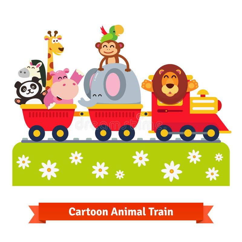 Treno animale felice del fumetto Locomotiva ed automobili royalty illustrazione gratis