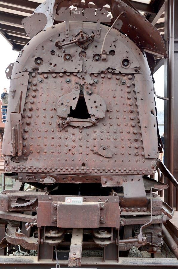 Treno bombardato dalla guerra di Corea immagine stock libera da diritti