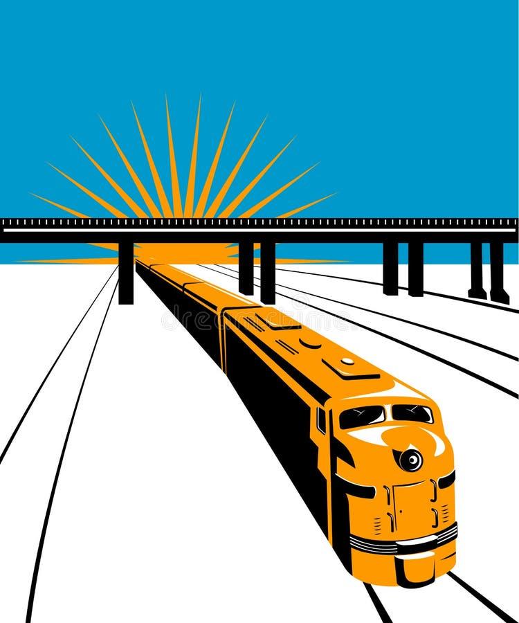 Treno con il ponticello fotografie stock libere da diritti