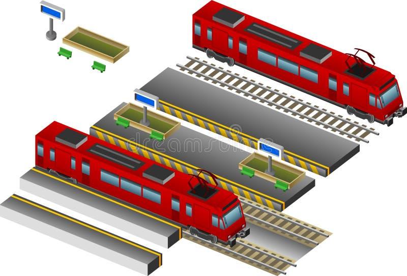 Treno con la stazione illustrazione di stock