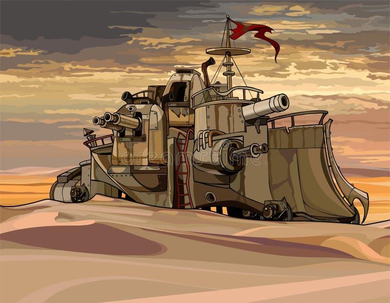 Treno corazzato militare fantastico del fumetto con le pistole nel deserto royalty illustrazione gratis