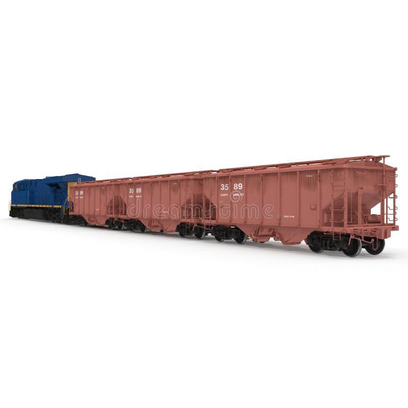 Treno del carico con il vagone del saltatore del carrello ferroviario su bianco illustrazione 3D royalty illustrazione gratis