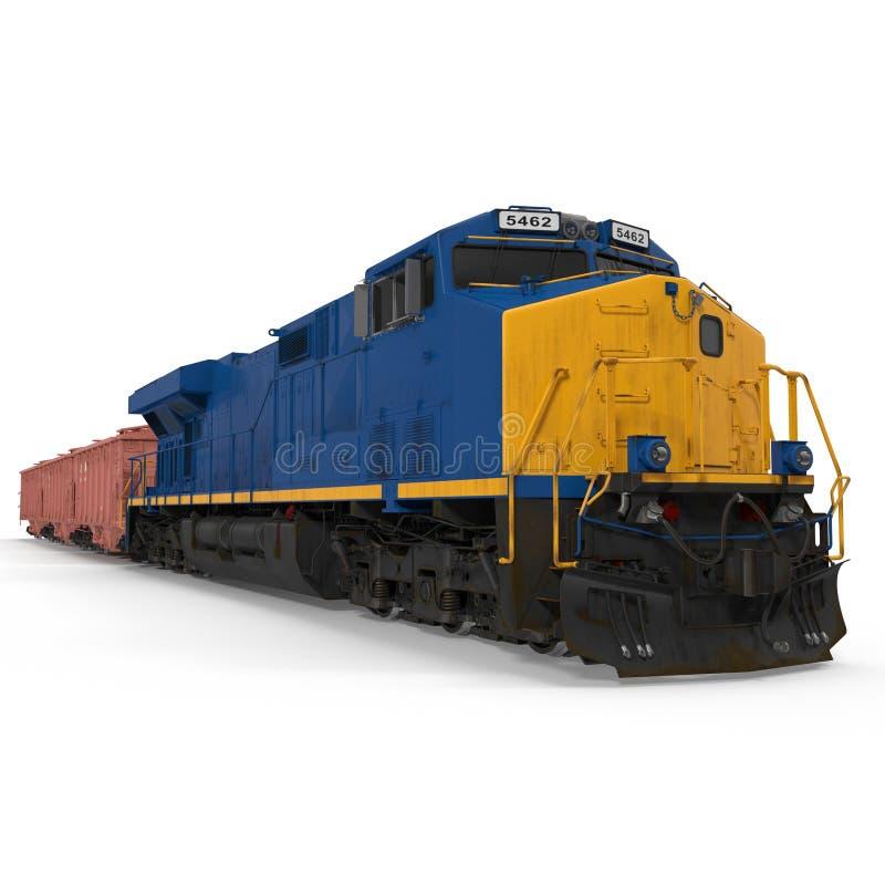 Treno del carico con il vagone del saltatore del carrello ferroviario su bianco illustrazione 3D illustrazione vettoriale