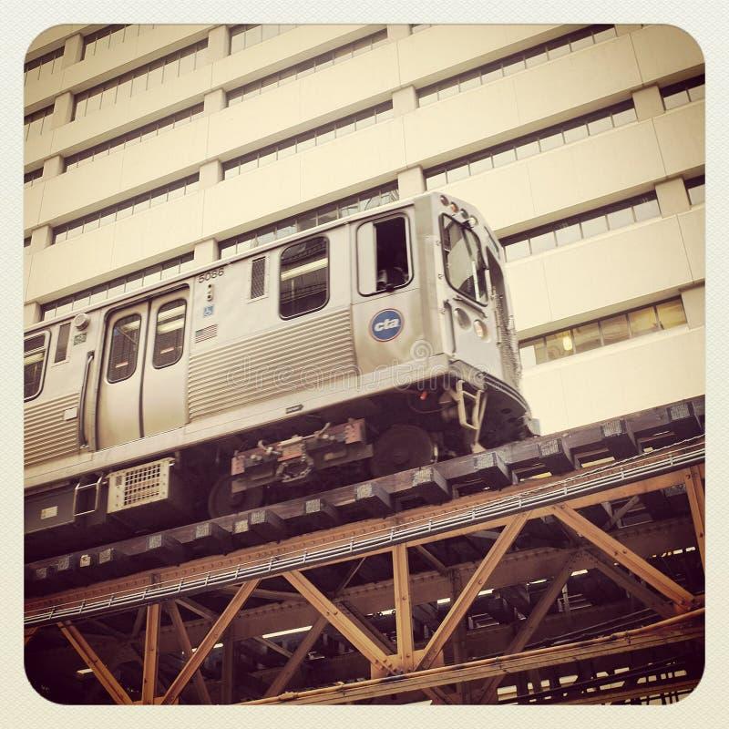 Treno del centro di Chicago immagine stock