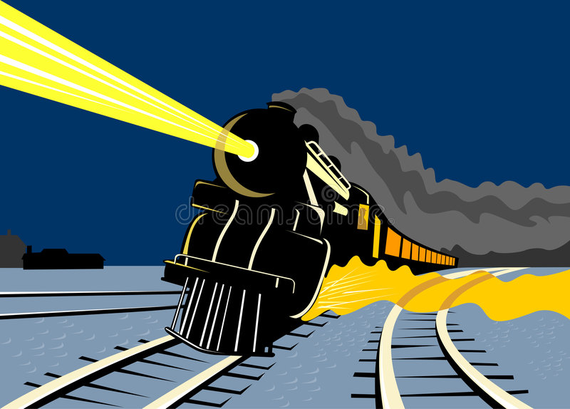 Treno del vapore che viaggia alla notte fotografia stock