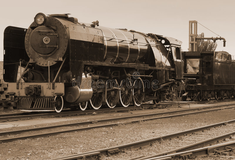 Treno del vapore di seppia dell'annata fotografia stock