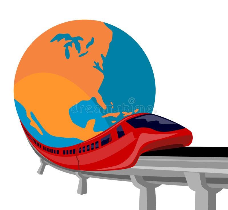 Treno della monorotaia con il globo fotografia stock libera da diritti