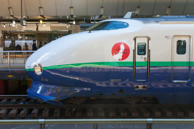 Treno della pallottola di 200 serie (ad alta velocità o Shinkansen) immagine stock