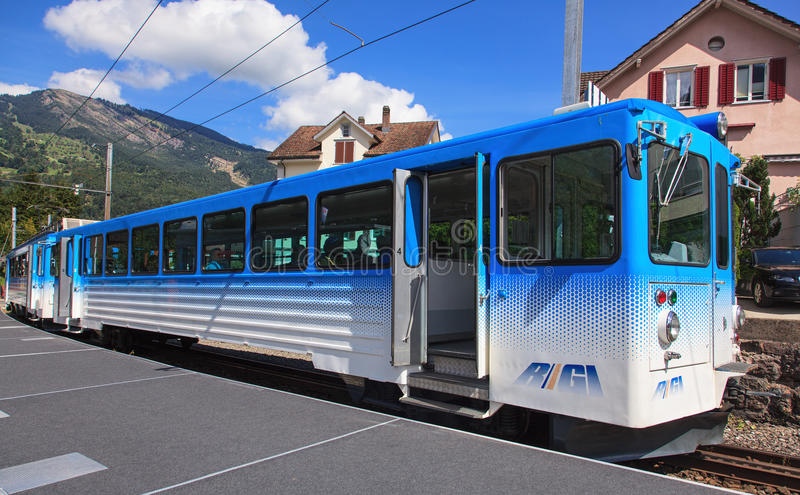 Treno delle ferrovie di Rigi fotografie stock libere da diritti