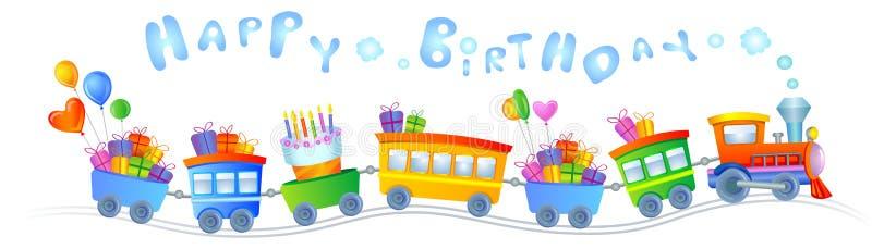 Treno di buon compleanno illustrazione vettoriale