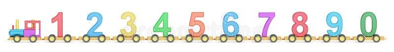Treno di legno con i numeri variopinti, del giocattolo rappresentazione 3D illustrazione vettoriale