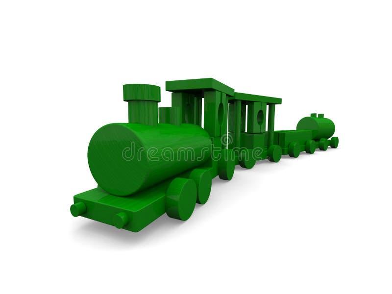 Treno di legno del giocattolo illustrazione di stock