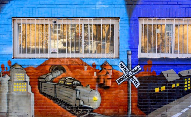 Treno di Montreal di arte della via immagini stock libere da diritti