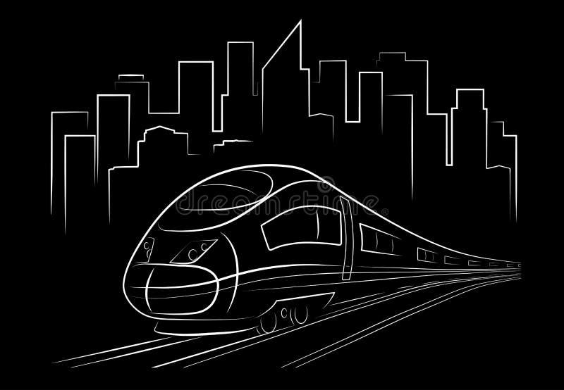 Treno di notte astratto del disegno illustrazione vettoriale
