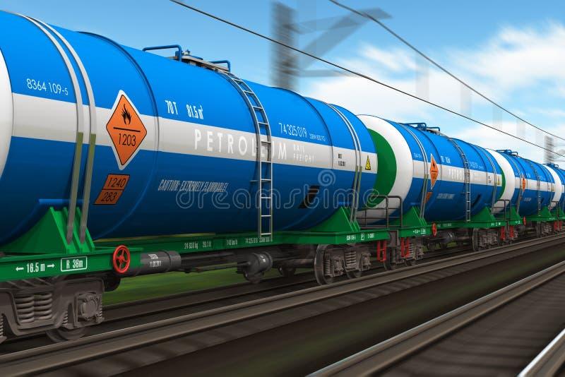 Treno di trasporto con le automobili dell'autocisterna del petrolio illustrazione vettoriale