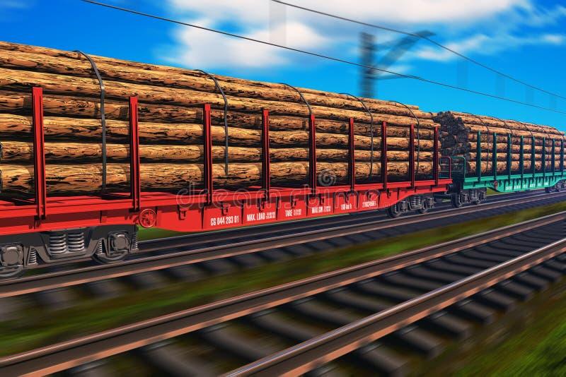 Treno di trasporto con legname royalty illustrazione gratis