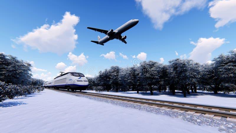 Treno e l'aereo illustrazione di stock